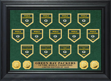 Green Bay Packers 13-Time World Champions Deluxe Banner Gold Coin Photo Mint