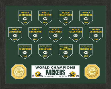 Green Bay Packers 13-Time World Champions Banner Bronze Coin Photo Mint