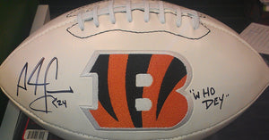 "Sports memorabilia signed ""who dey"" Adam Jones Bengals football from Sports Fanz"