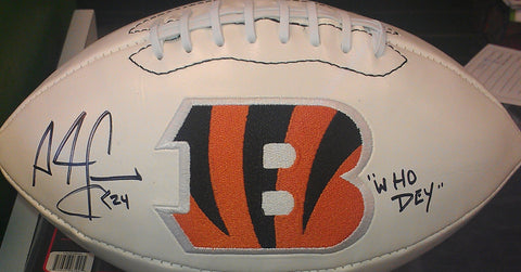 "Adam ""PAC-MAN"" Jones Signed Cincinnati Bengals Full Size Logo Football with ""WHO DEY"" Inscription"