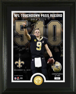 Drew Brees New Orleans Saints NFL Touchdown Pass Record 540 Bronze Coin Photo Mint