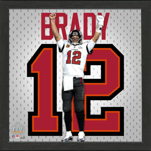 Tom Brady Tampa Bay Buccaneers Super Bowl 55 Champions Impact Jersey Framed Photo