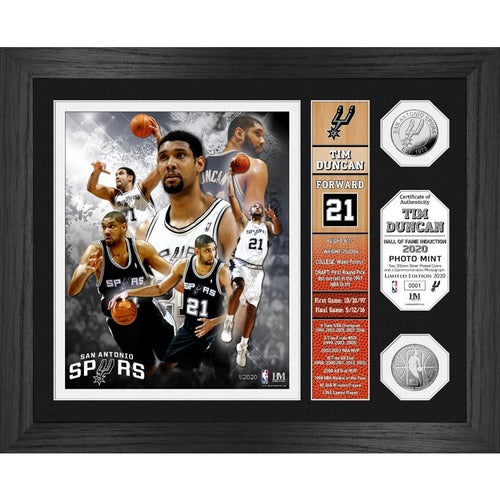 Tim Duncan Hall Of Fame Banner Silver Coin Photo Mint