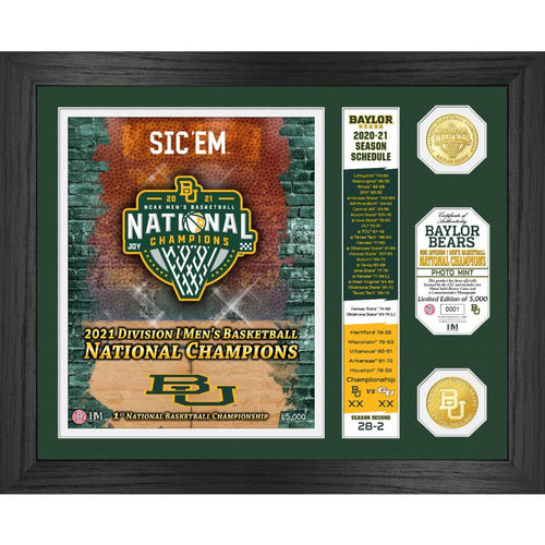 Baylor Bears 2021 Men's Basketball Champions Banner Bronze Coin Photo Mint