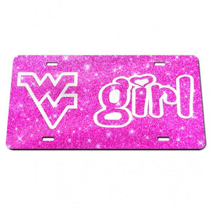 West Virginia Mountaineers WV Girl Pink Glitter Chrome License Plate