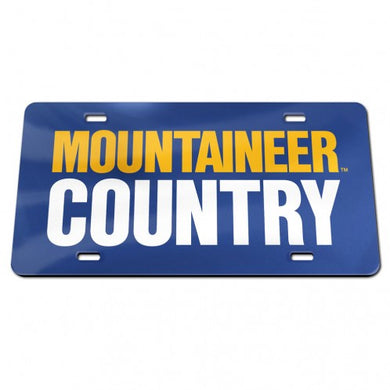 West Virginia Mountaineers Mirror Blue Mountaineer Country License Plate