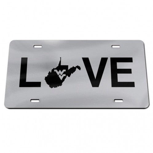 West Virginia Mountaineers LOVE Silver Mirror License Plate