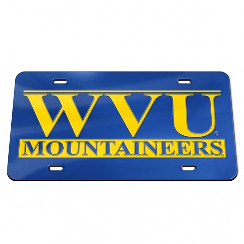 West Virginia Mountaineers WVU Mirror Blue Chrome License Plate