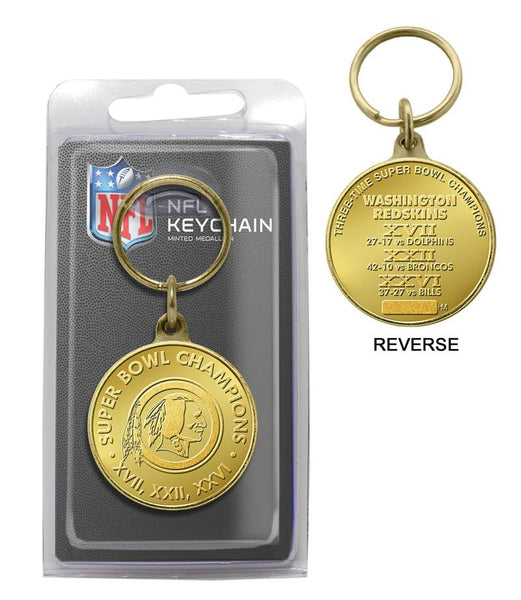 Washington Redskins 3-Time Super Bowl Champions Bronze Coin Keychain