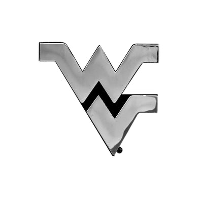 West Virginia Mountaineers Chrome Auto Emblem, chrome flying wv