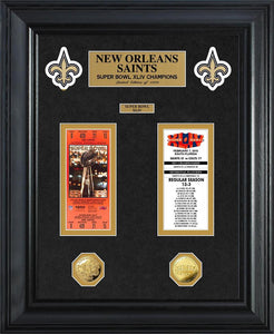 New Orleans Saints Super Bowl Ticket and Game Coin Collection Framed