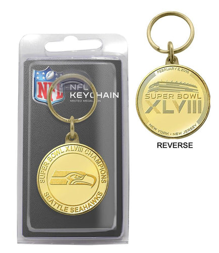 Seattle Seahawks Super Bowl 48 Champions Bronze Coin Keychain