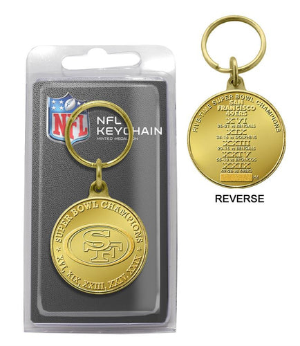 San Francisco 49ers 5-Time Super Bowl Champions Bronze Coin Keychain
