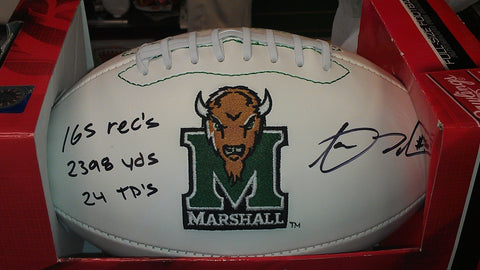 Aaron Dobson Signed Marshall Thundering Herd Logo Football w/ Stats