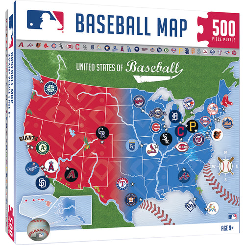 MLB Sports Map 500 Piece Puzzle, yankees  white sox  Washington Nationals  twins  toronto blue jays  tigers  texas rangers  Tampa Bay Rays  royals  reds  rays  pirates  Phillies  padres  MLB Sports Map  mets  marlins  mariners  indians  giants  dodgers  cubs  Colordado rockies  cardinals  brewers  Boston Red SOx  Baltimore orioles  atlanta braves  athletics  astros  arizona diamondbacks