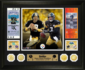 Terry Bradshaw & Ben Roethlisberger Steelers Super Bowl Traditions Bronze Coin Photo Mint