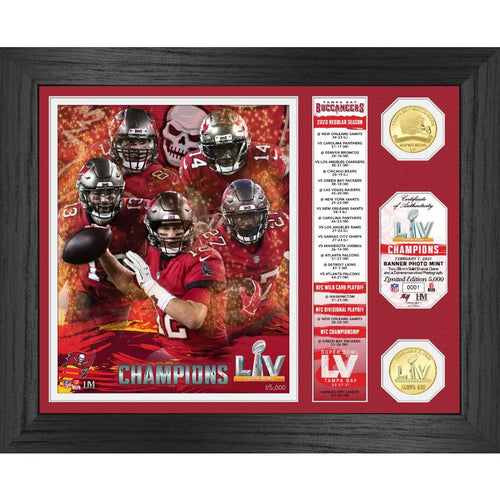 Tampa Bay Buccaneers Super Bowl 55 Champions Banner Bronze Coin Photo Mint