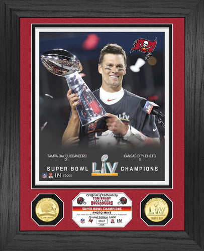 Tom Brady Tampa Bay Buccaneers Bowl 55 Champion Trophy Bronze Coin Photo Mint