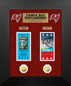 Tampa Bay Buccaneers 2-Time Super Bowl Champions Deluxe Gold Coin & Ticket Collection