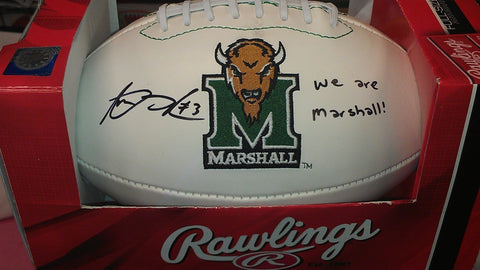 "Aaron Dobson Signed Marshall Thundering Herd Logo Football ""We are Marshall"" inscription"