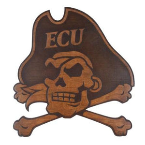 ECU Pirates Wood Wall Hanging - Skull and Crossbones - Large Size