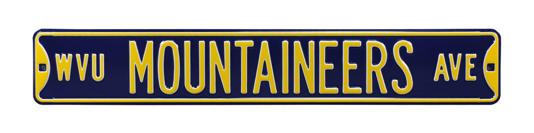 west virginia mountaineers metal street sign