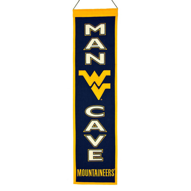 wvu football, wvu basketball, wvu wool man cave banner