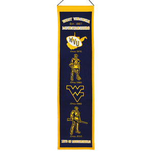 wvu basketball, wvu football, wvu heritage wool banner