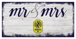 "Nashville SC Mr. & Mrs. Script Wood Sign - 6""x12"""