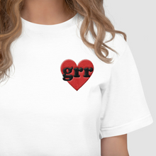 Load image into Gallery viewer, Embroidered Feminist T Shirt - Grr Heart-Feminist Apparel, Feminist Clothing, Feminist T Shirt-The Spark Company-The Spark Company