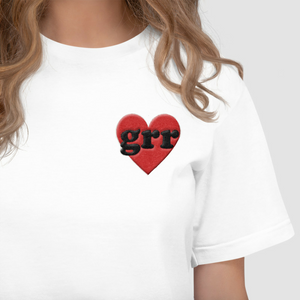 Embroidered Feminist T Shirt - Grr Heart-Feminist Apparel, Feminist Clothing, Feminist T Shirt-The Spark Company-The Spark Company
