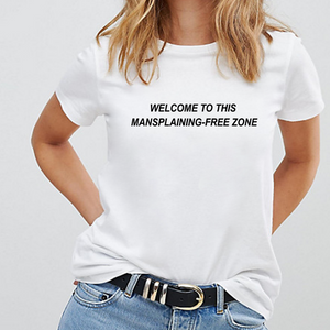Mansplaining-Free Zone - Feminist T-Shirt-Feminist Apparel, Feminist Clothing, Feminist T Shirt-The Spark Company-The Spark Company