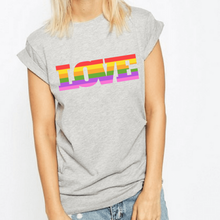 Load image into Gallery viewer, Love Pride Rainbow - LGBT T-Shirt-LGBT Apparel, LGBT Clothing, LGBT T Shirt-The Spark Company-The Spark Company