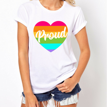 Load image into Gallery viewer, Heart Pride Rainbow - LGBT T-Shirt-LGBT Apparel, LGBT Clothing, LGBT T Shirt-The Spark Company-The Spark Company
