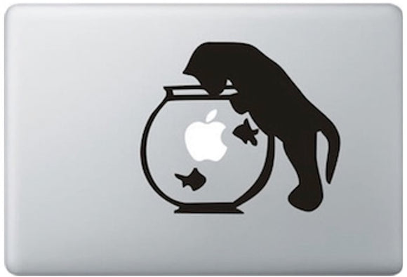 Sticker MacBook POISSON ROUGE ET CHAT