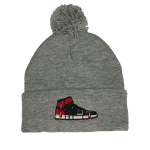 Bred Essentials Beanie w/Pom - Heather Grey