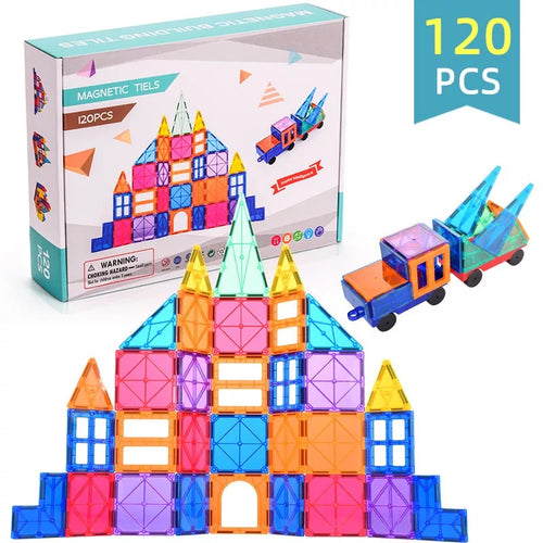 Best4kids Tiles 120 Piece Set  Clear 3D Color Magnetic Building Tiles - Best4Kids