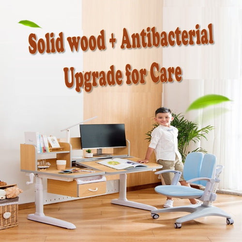 Totguard Ergonomic Kids Desk and Chair Set - HT512SNW | Antimicrobial Surface Technology + Solid wood - Best4Kids