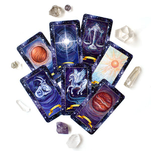 The Constellation Tarot Cards deck with stars and universe