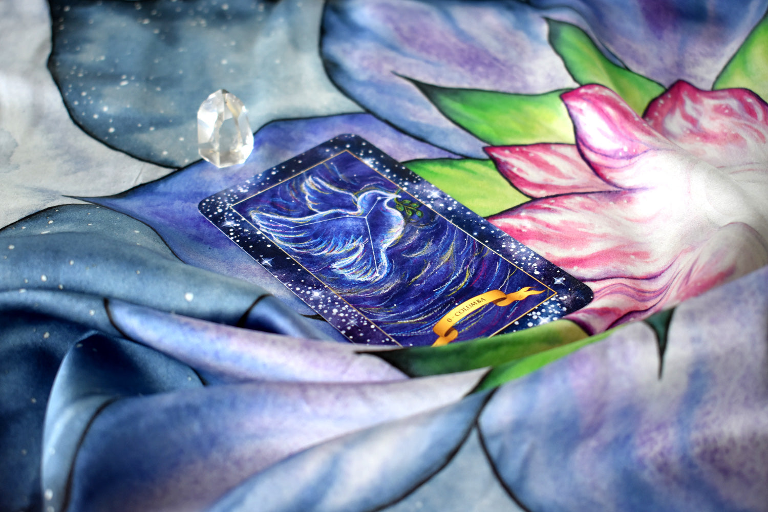 100% Silk Tarot Cloth — Glowing Lotus
