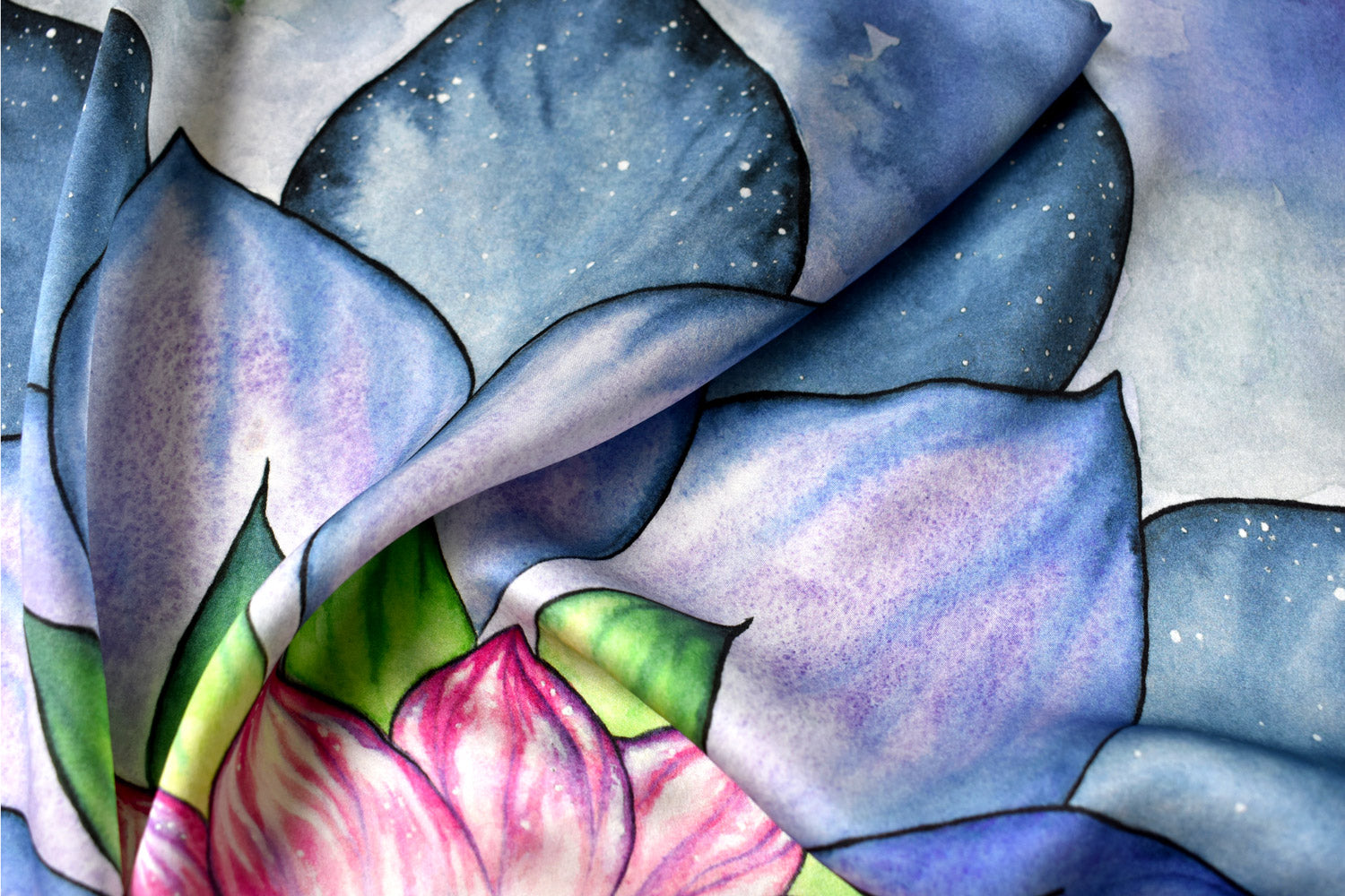 Silk Tarot card altar cloth detail, Glowing Lotus