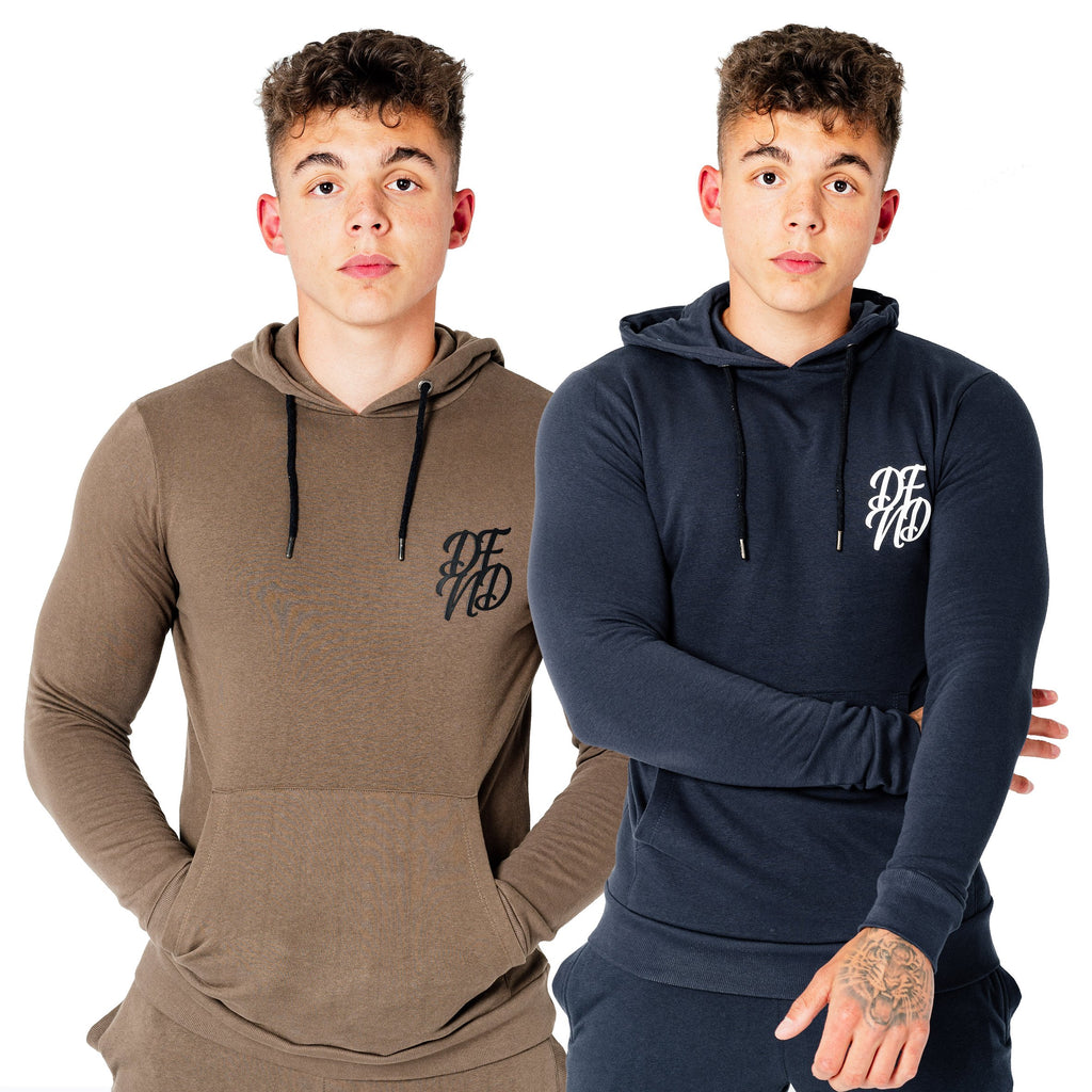 Men's Wright Two Pack Hoodies in Dark Olive & Navy - DEFEND LONDON