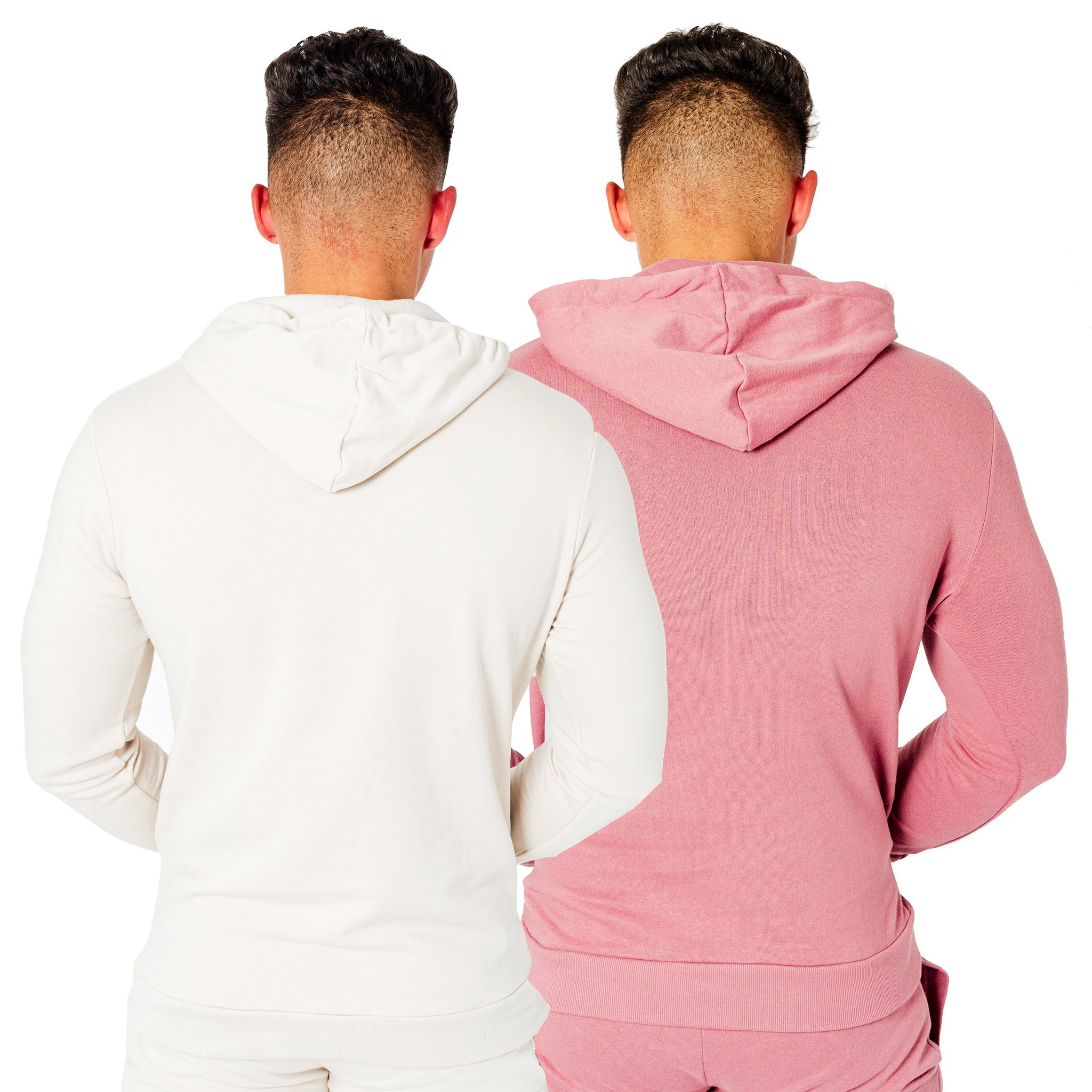 Men's Wright Two Pack Hoodies in Stone & Dusty Pink - DEFEND LONDON