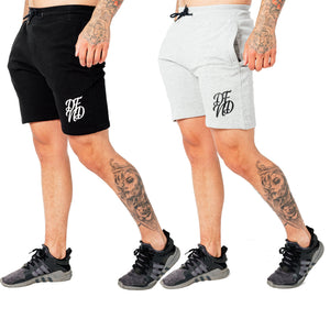 Men's Wright Two Pack Shorts in Grey Marl & Black - DEFEND LONDON