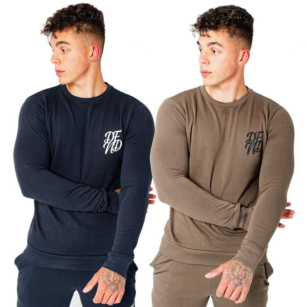 Men's Wright Two Pack Sweatshirts in Dark Olive & Navy - DEFEND LONDON