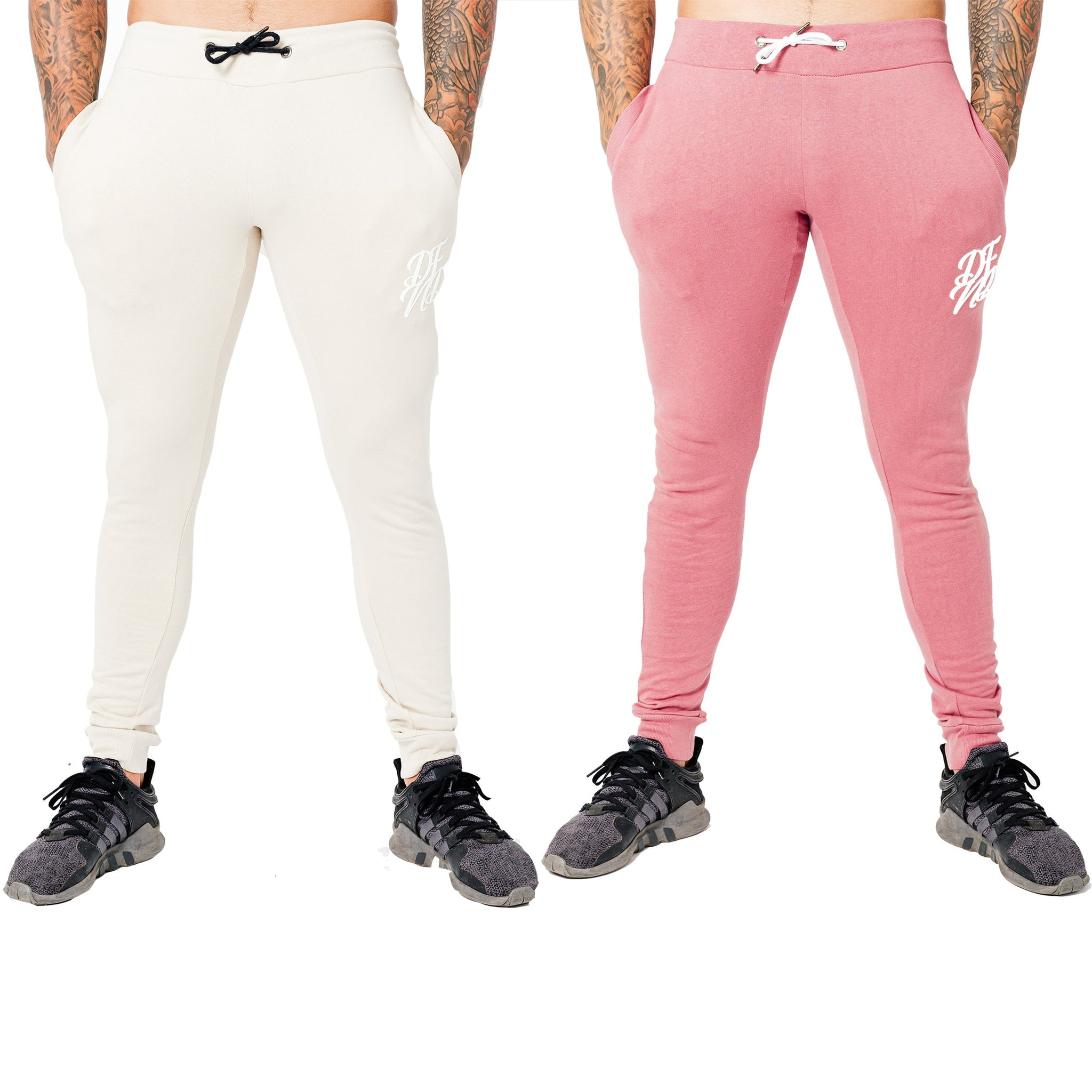 Men's Wright Two Pack Joggers in Stone & Dusty Pink - DEFEND LONDON