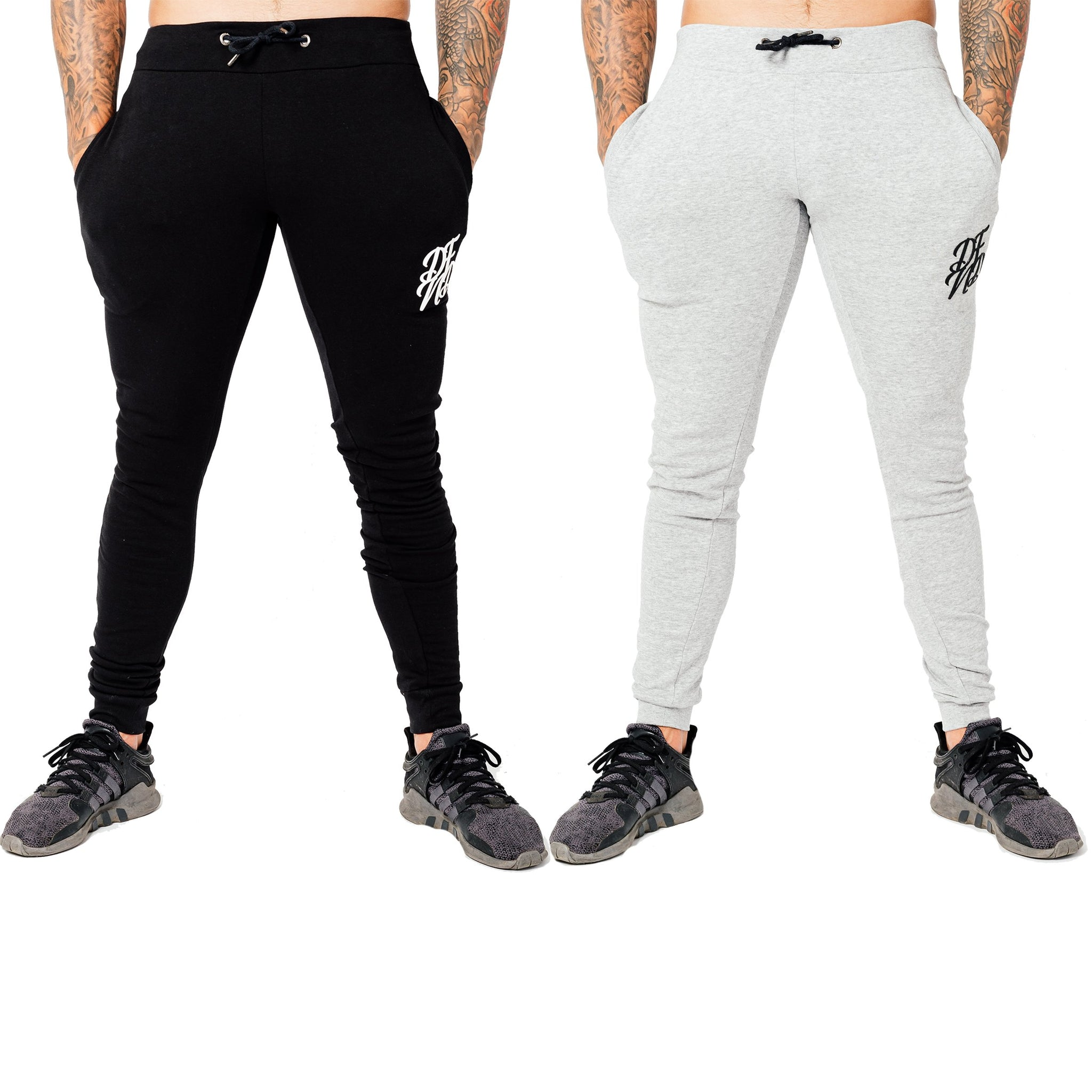 Men's Wright Two Pack Joggers in Grey Marl & Black - DEFEND LONDON