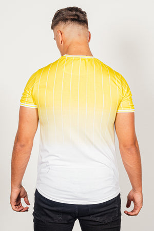 Men's Stripe T-Shirt in Yellow - DEFEND LONDON