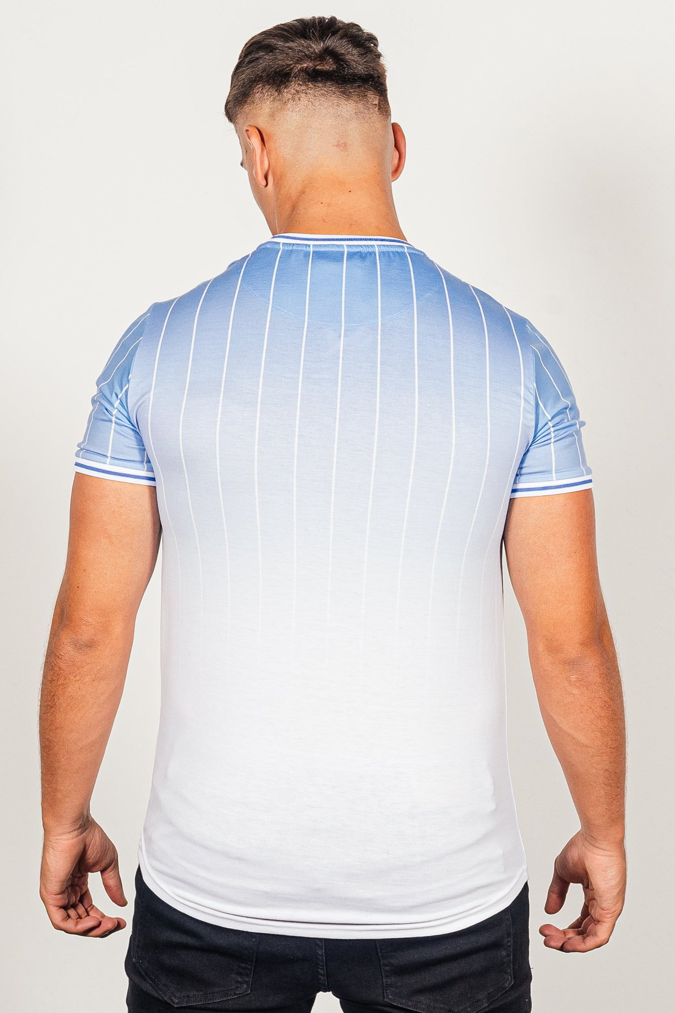 Men's Stripe T-Shirt in Blue - DEFEND LONDON