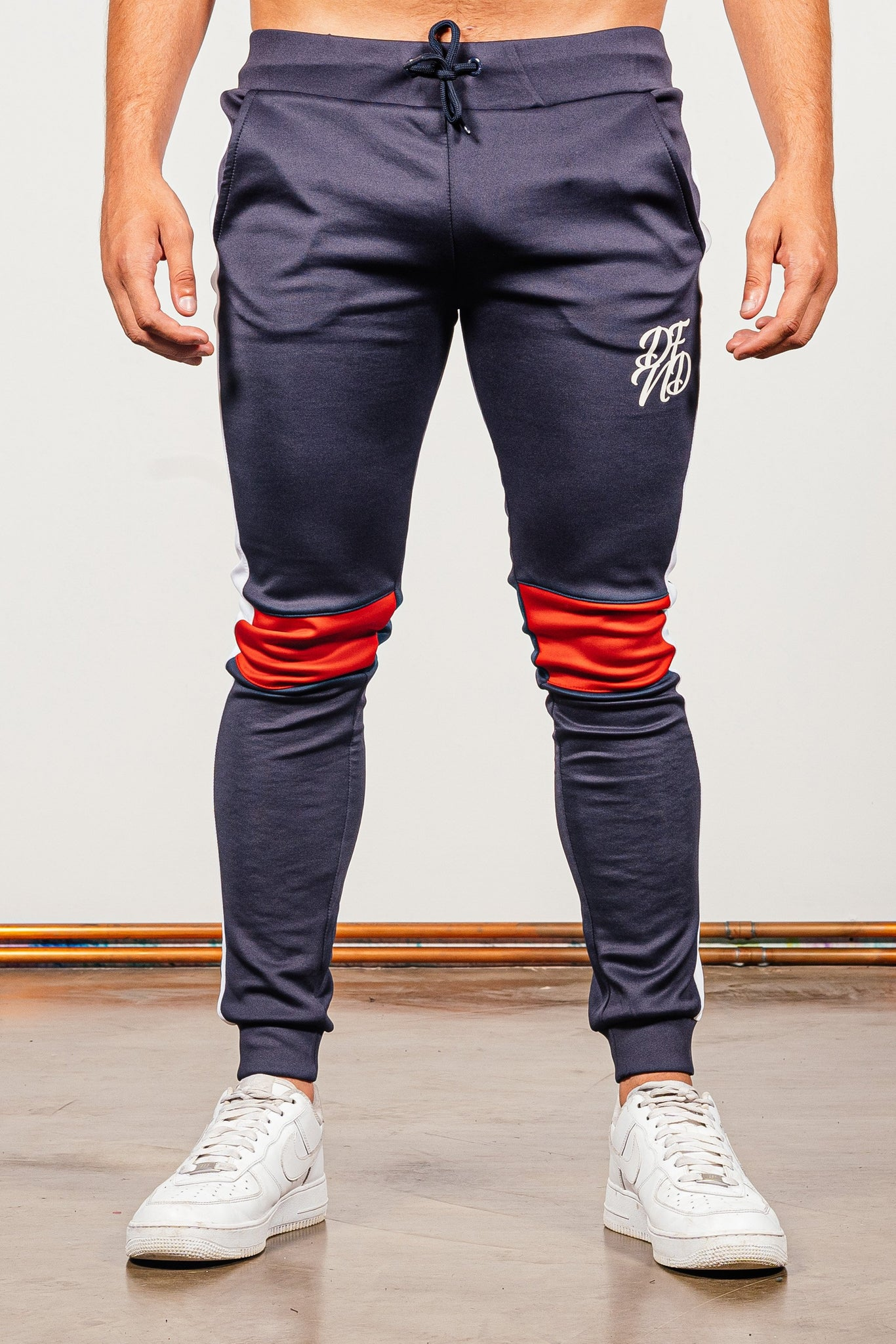 Men's Cruz Tracksuit in Red & Navy - DEFEND LONDON
